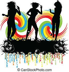 ragazze, festa, silhouette, -