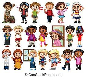 ragazze, fondo, bianco, set, ragazzi, grande, attività, differente