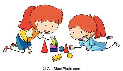 ragazze, giocare blocco, giocattoli