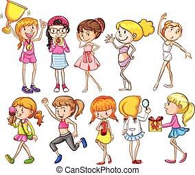 ragazze, gruppo, giovane