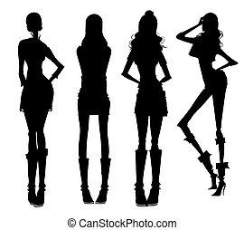 ragazze, moderno, silhouette