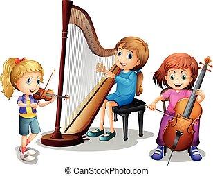 ragazze, musica, tre, gioco