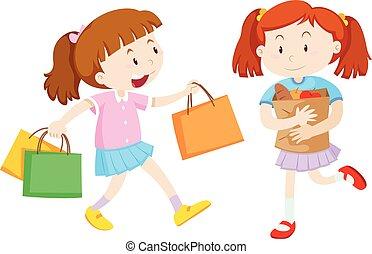 ragazze, shopping, due, borse