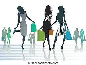 ragazze, shopping, tre, fuori
