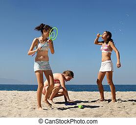 ragazze, spiaggia, gioco