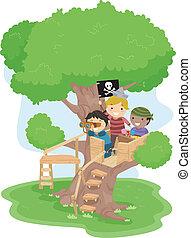 ragazzi, albero, pirata