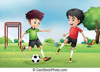 ragazzi, calcio, parco, due, gioco