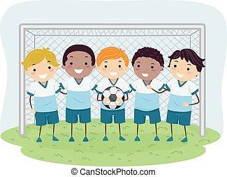 ragazzi, calcio, stickman, bambini