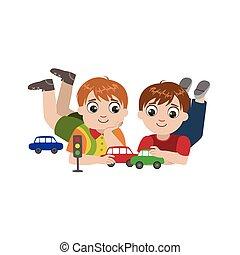 ragazzi, giocattolo, gioco, automobili