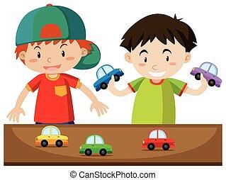 ragazzi, gioco, due, automobili