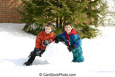 ragazzi, gioco, neve