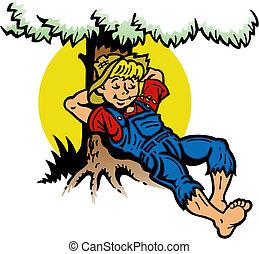 ragazzo, albero, riposare, sotto