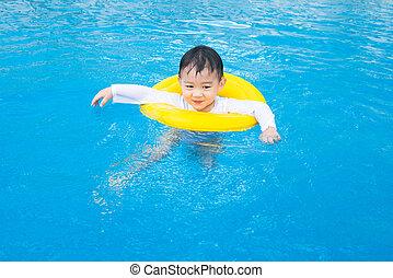 ragazzo, attività, stagno, bambino, bambini, nuoto