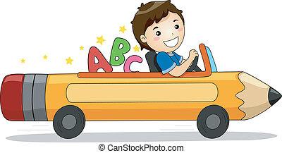 ragazzo, automobile, abc, guida, matita