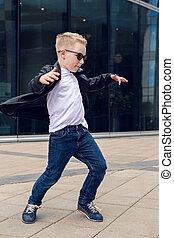 ragazzo, ballo, cuoio, -, anni, giacca, nero, 7, bambino, 8