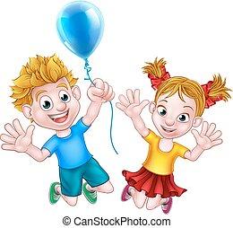 ragazzo, balloon, saltare, ragazza, cartone animato