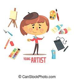 ragazzo, bambini, artista, professione, illustrazione, pittore, oggetti, relativo, professionale, futuro, sogno, occupazione