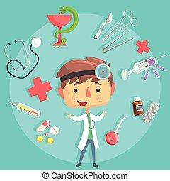ragazzo, bambini, dottore, professione, illustrazione, oggetti, relativo, professionale, futuro, sogno, occupazione