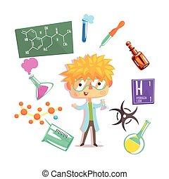ragazzo, bambini, professione, illustrazione, chimico, oggetti, relativo, professionale, futuro, sogno, occupazione