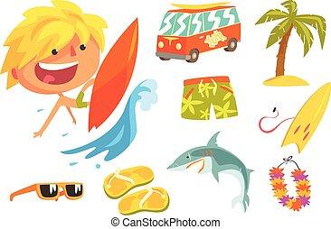 ragazzo, bambini, professione, illustrazione, surfer, oggetti, relativo, sportivo, professionale, futuro, sogno, estremo, occupazione
