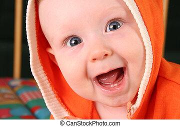ragazzo bambino, 2, sorriso, dente