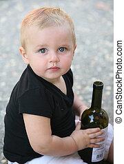 ragazzo bambino, bottiglia