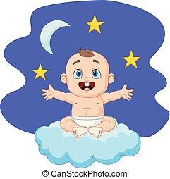 ragazzo bambino, cartone animato, nuvola, seduta