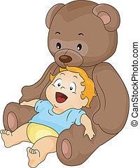 ragazzo bambino, giocattolo, orso, grande