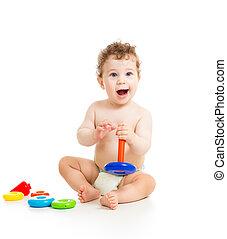 ragazzo bambino, gioco, felice