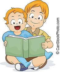 ragazzo bambino, libro, fratello, lettura