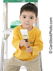 ragazzo, bambino primi passi, pittura