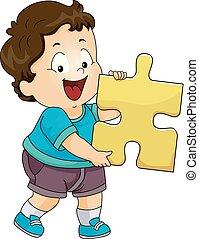ragazzo, bambino primi passi, puzzle, illustrazione, pezzo, capretto