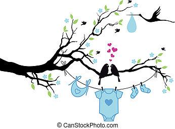 ragazzo bambino, vettore, uccelli, albero