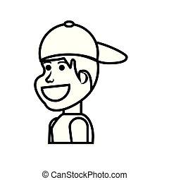 ragazzo, berretto, carattere, avatar, bambino