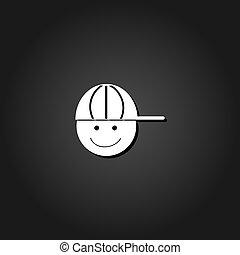 ragazzo, berretto, flat., icona