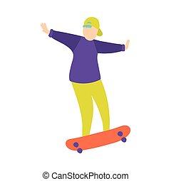 ragazzo, berretto, skateboard, giovane, trucco, baseball, verde