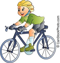 ragazzo, bicicletta, illustrazione, sentiero per cavalcate