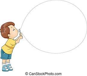 ragazzo, bolla salto, giocattolo, capretto