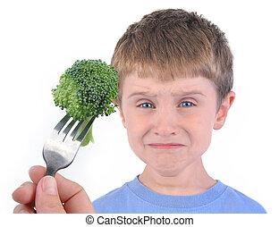 ragazzo, broccolo, dieta, sano, bianco