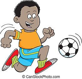 ragazzo, calcio, gioco, africano, cartone animato