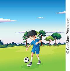 ragazzo, calcio, gioco, foresta