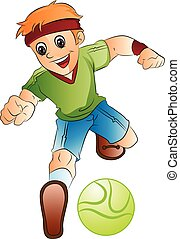 ragazzo, calcio, gioco, illustrazione