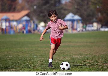 ragazzo, calcio, parco, gioco