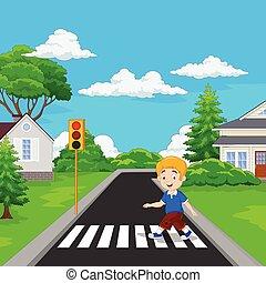 ragazzo, camminare, attraversamento pedonale, cartone animato, attraverso
