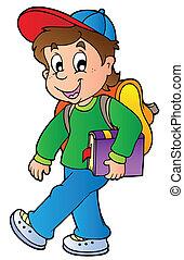 ragazzo, camminare, scuola, cartone animato