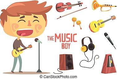 ragazzo, cantante, bambini, professione, musicista, illustrazione, oggetti, relativo, professionale, futuro, sogno, occupazione