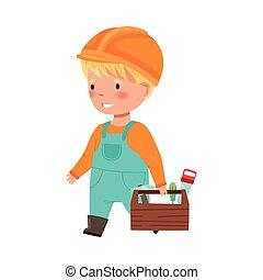 ragazzo cappello, duro, illustrazione, costruttore, scatola, portante, divertente, generale, vettore, attrezzi