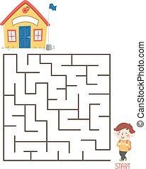 ragazzo, capretto, illustrazione, puzzle, scuola, labirinto