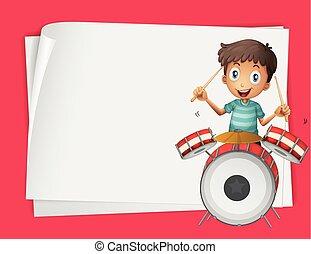 ragazzo, carta, disegno, tamburi eseguono