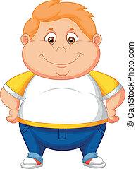 ragazzo, cartone animato, grasso, proposta